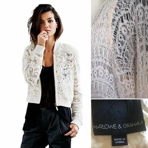 Harlow & Graham cream lace  bomber jacket